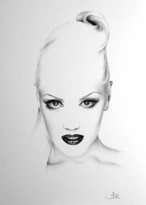 Gwen Stefani No Doubt Minimalism Pencil Drawing Fine Art Portrait  Print Hand Signed