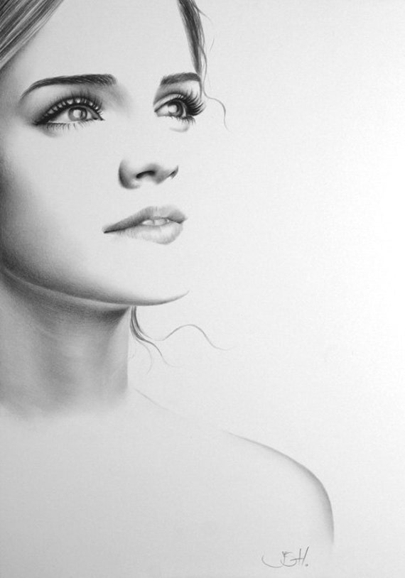 Emma Watson Pencil Drawing Fine Art Portrait PRINT Hand Signed