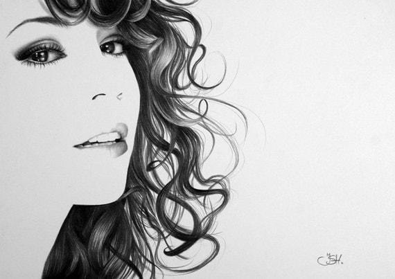 Mariah Carey Pencil Drawing Fine Art Portrait Signed Print