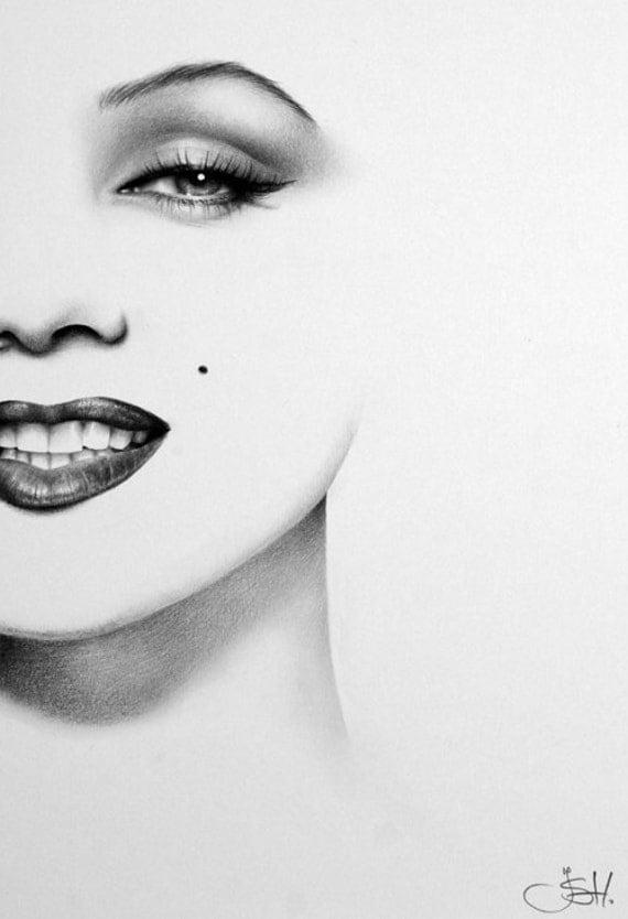 Marilyn Monroe Minimalism Original Pencil Drawing Fine Art Portrait Glamour Beauty