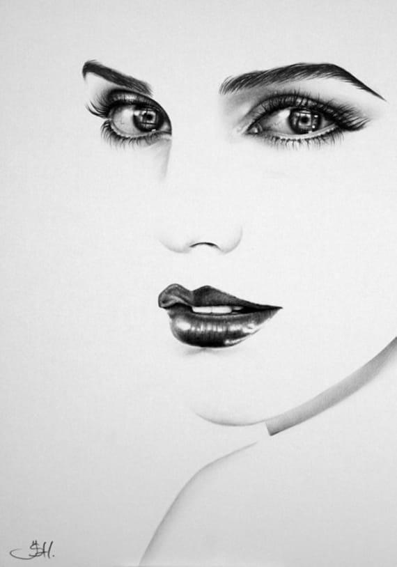 Items similar to emma watson pencil drawing minimalism for Minimal art face