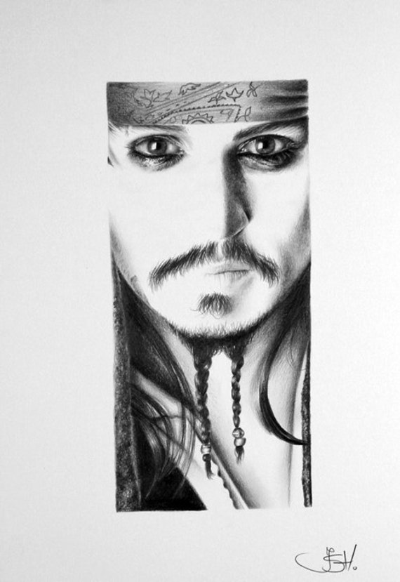 Articoli simili a johnny depp jack sparrow pirati dei caraibi matita disegno d 39 arte ritratto - Dessin johnny depp ...