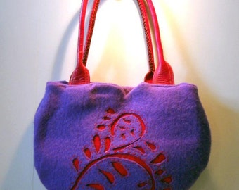 Great fall bag. Reverse Applique Felted recycled sweaters.