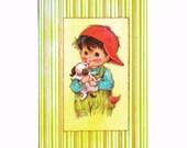 "UNUSED Vintage 1970s BRIGHT EYES  ""Sunshine""  Birthday Card - Boy and Puppy"
