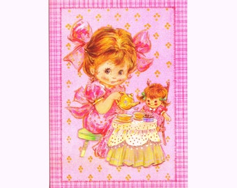 Vintage BIRTHDAY CARD - UNUSED 1970s Bright Eyes Sunshine Card - Little Girl's Tea Party