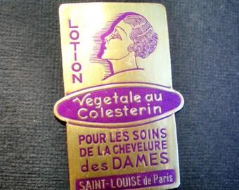 Chic 1920s FRENCH ART DECO Antique Gold Leaf and Royal Purple Label - Beauty Lotion from Saint  Louise de Paris