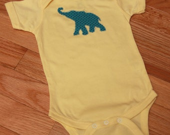 Elliot Elephant Appliqued Onesie