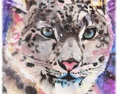 Snow Leopard Watercolor Painting Print, Artist-Signed