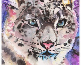 POSTER SIZED Snow Leopard Watercolor Painting Print, Artist-Signed
