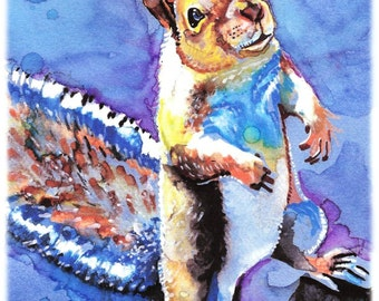 POSTER SIZED Squirrel --Artist Signed Watercolor Print