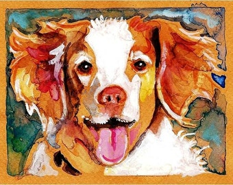 Brittany Spaniel Watercolor Print, Artist Signed