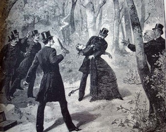 Madame Derblay Stops the Duel- 1892 Vintage Book Photogravure