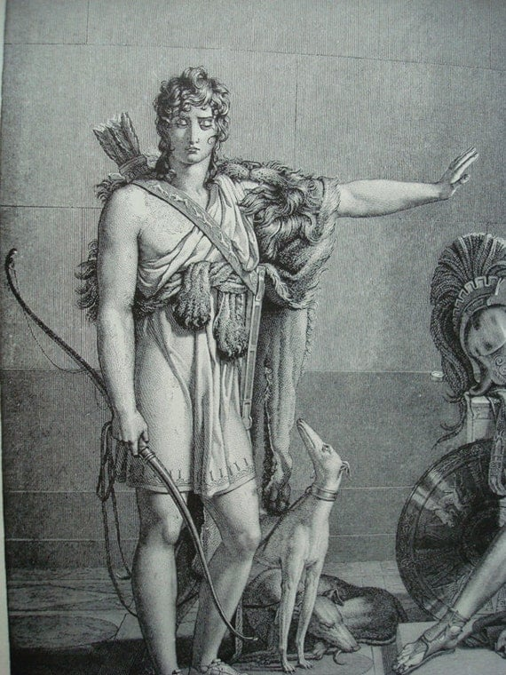 Phedra and Hyppolytus - 1892 Vintage Book Photogravure