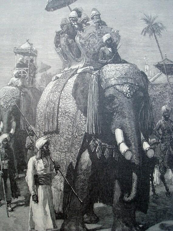 An Elephant Ride - Vintage Harper's Magazine Illustration 1890s