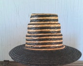 Straw Hat Whimsical Resort Made in Italy Striped Straw Hat