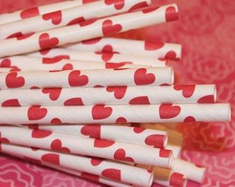 Paper Straws, 25 Red Heart Paper Straws, Valentine Party Straws, Alice in Wonderland, Heart Straws,  Wedding Paper Straws, Wedding Straws