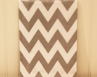 Paper Bags, 24 Grey Chevron Favor Bags, Chevron Bags, Wedding Candy Bag, Birthday Party Favor Bag, Packaging, Paper Treat Bags, Gift, Cookie