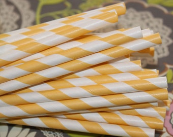Paper Straws, 25 Yellow Striped Paper Straws, Yellow Paper Straws, Lemonade Stand, Birthday Party, Baby Shower Paper Straws, Mason Jar Straw