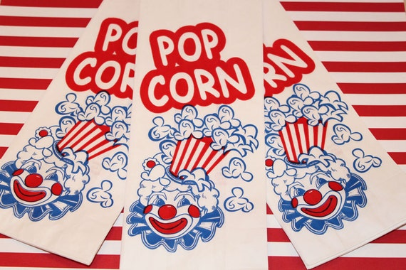 Paper Bag,, Popcorn Bags, 50 Retro Vintage Clown Popcorn Bags, Party, Concessions, Food, Carnival, Movie Night, Pirate, Teens, Sports Games