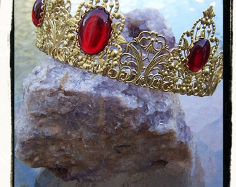 Phoenix Gold and Ruby Red Renaissance Game of Thrones Tudor Filigree Tiara