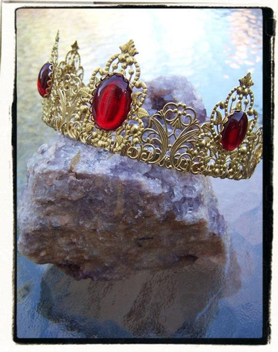 Phoenix Gold and Ruby Red Renaissance Game of Thrones Tudor Filigree Tiara