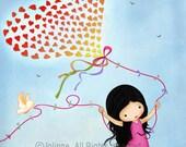 Kids wall art, Girls room decor, Nursery art print, Kids art poster, children decor, Nature inspired, colorful, love, spring
