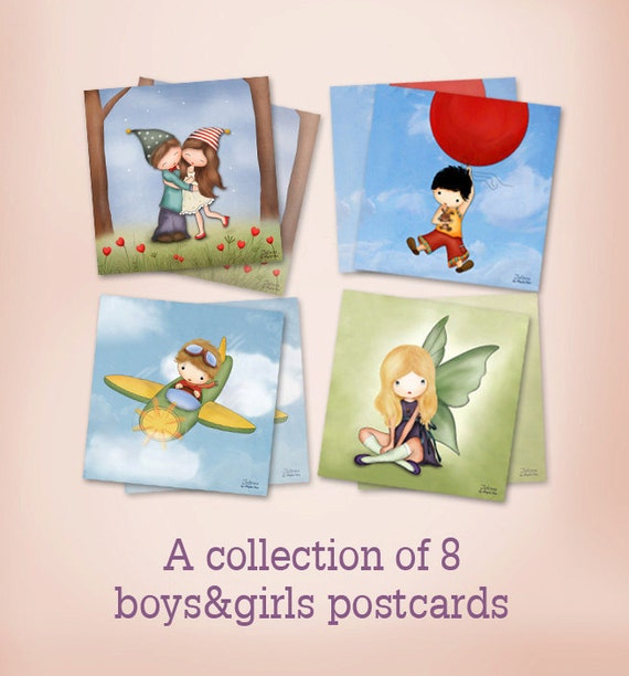 Set of 8 boys girls mini prints postcards greeting cards children illustrations room decor