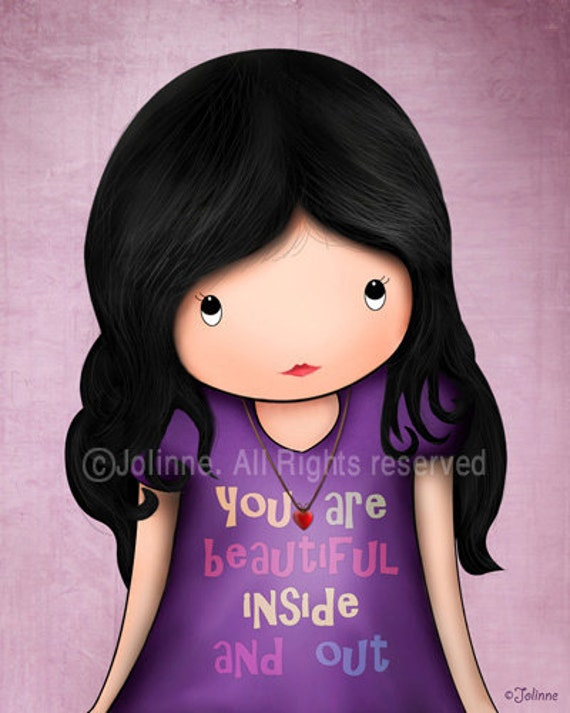You are beautiful inside and out , children wall art print, girls room or nursery, purple children room art,Quote Kids Art,Personalized Kids