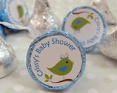 """Birdie Personalized Baby Shower Round Candy Stickers Labels Favors - Set of 192 Stickers, 3/4"""" Custom Circle Stickers"""
