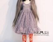 Grey Lace Dresses for Dollfie Slim MSD BJD