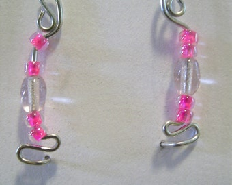 Silver Ear Pin Earrings with Hot Pink Beads
