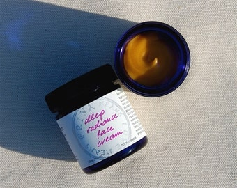 Deep Radiance Face Cream - a luscious organic, truly all-natural facial moisturizer for smooth, lustrous skin (1.7 oz cobalt blue glass jar)