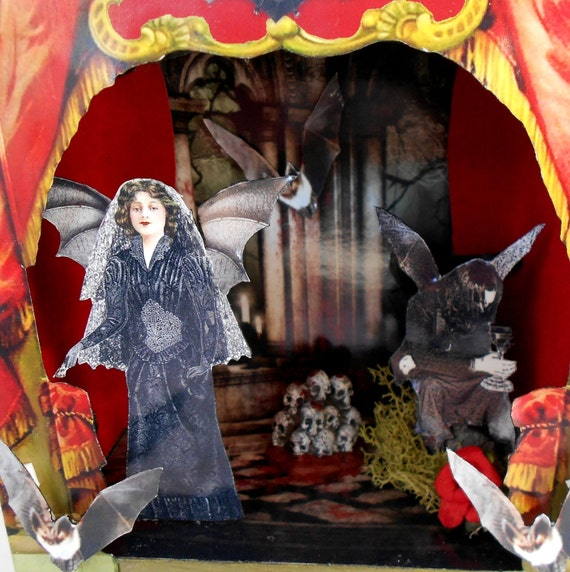 Gothic Shadow Box - Victorian Vampire - Theater Shadow Box