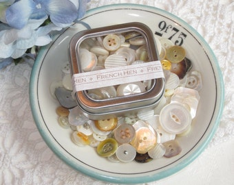 Vintage Button Collection-Whites
