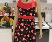 Full Apron, modern  style ,  Fun Hearts in a black print and red cotton fabric
