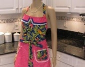 DOUBLE, Full Apron, Bella Tropical, in a blue parrot motif print with hot pink double apron