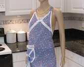 Sexy, modern, retro style apron, blue and white check, pastel colored floral  print, dish towel included
