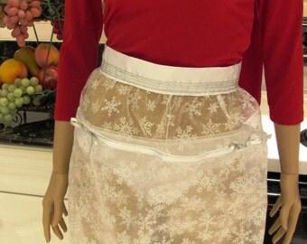 SHEER HALF  APRON : Elegant Hostess Apron, Sexy Sheer Tea Apron in white snowflake sparkling fabric