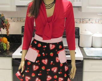 Double, Half apron, retro style,  Bella Claire, Heart/Gingham in black, red and pink