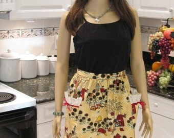 ladies Half apron, Traditional Angela styled, plus size, retro print with two pockets