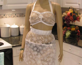 BRA and APRON HOSTESS set,  Sexy, sheer white snow flake two piece apron set, perfect bridal shower gift