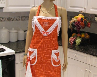 SEXY MODERN APRON, full apron , Red and sassy, apron with white dish towel