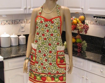 FULL APRON ,ONE of a kind designer style, tradional style, apple fabric with two lace trimmed pockets