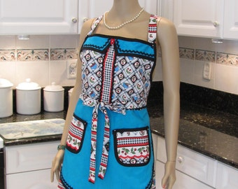 SEXY FULL APRON, Modern style  in turquoise,black,  red cherry print ,with black trim