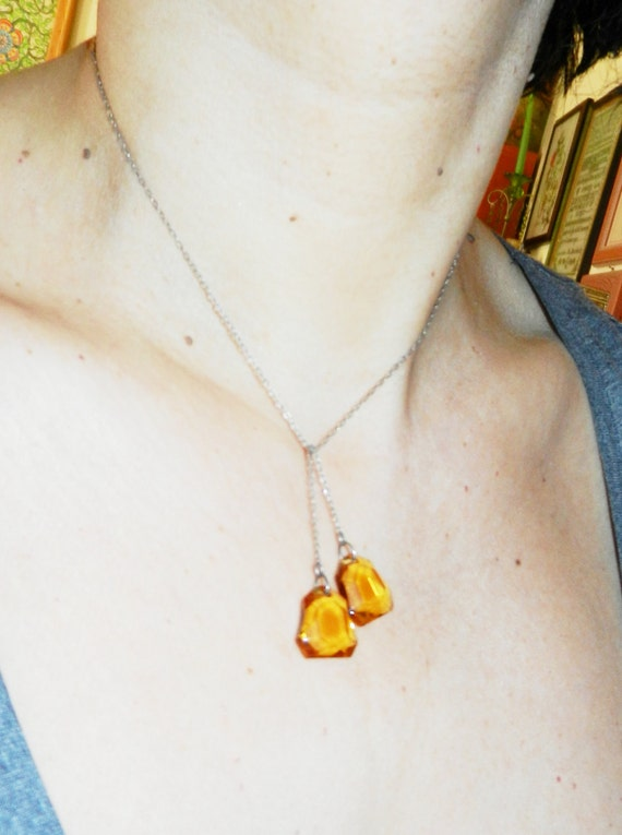 Venezia 1940 -  knotted  necklace - unique and innovative -beautiful amber crystals-art.756-