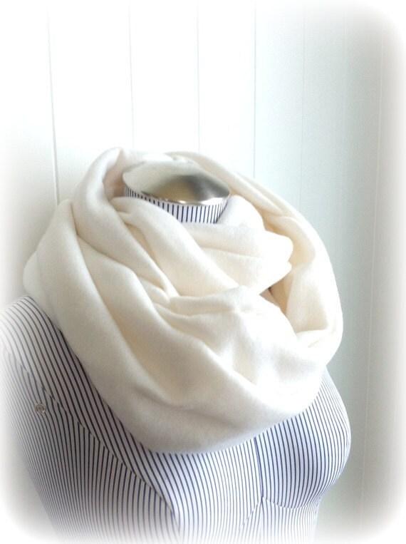 Ivory Infinity Scarf, Winter White Fleece Cozy Loop Cowl Scarf