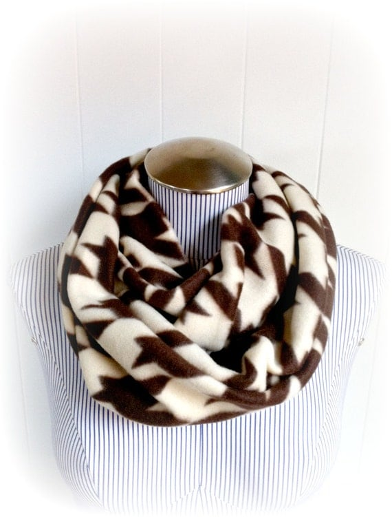 Houndstooth Scarf, Chocolate Brown and Cream Fleece Infinity Classy Loop Scarf