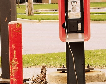 vintage payphone, telephone, phonebooth, phone, street photography, red, black, 80s, 70s - OFF THE HOOK