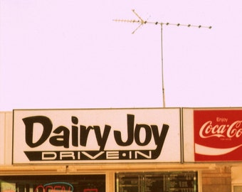 "ice cream stand, vintage sign photography, drive-in, vintage home, red, black, 6x6, from 35mm film - ""Dairy Joy Drive-In"""