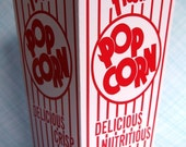Retro Popcorn Boxes (set of 6), Red and White Carnival Carnival Popcorn Boxes, Striped Popcorn Boxes